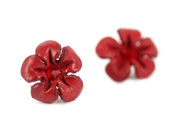 Boucles d'oreilles cuir cerise