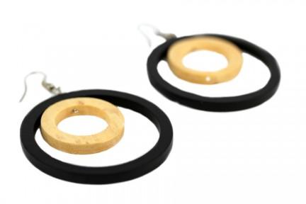 Boucles d'oreilles fantaisie en bois pendantes noires