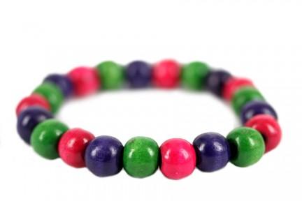 Bracelet perles de bois brute
