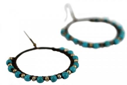 Créoles perles argent et turquoise