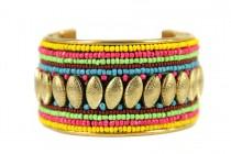 Bracelet brésilien ouvert métal rigide avec perles