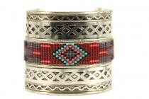Bracelet manchette ethnique argent