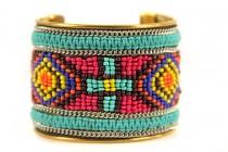 Bracelet manchette brésilien et métal large avec perles