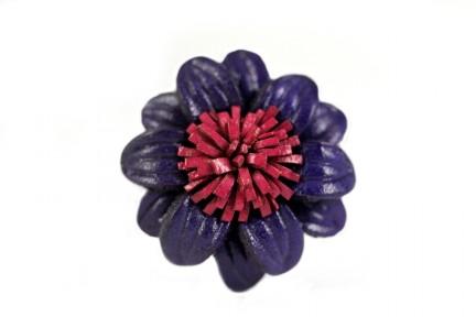 Bague en cuir fleur artisanale