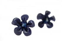 Boucles d'oreilles cuir Prune