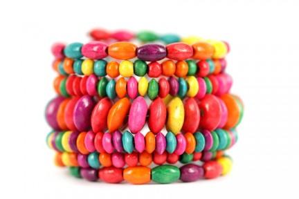 Bracelet manchette multicolore bois