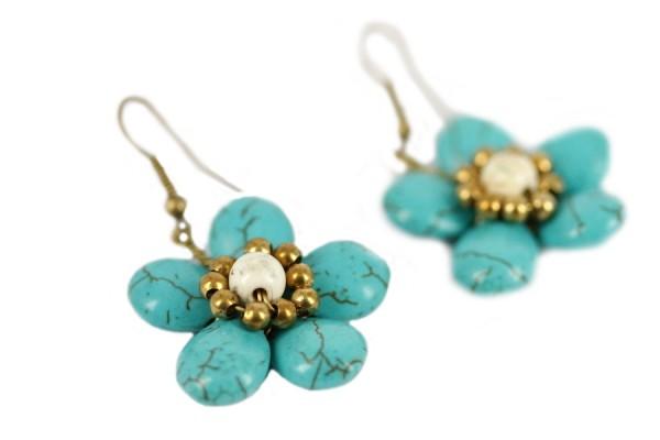 boucles oreilles fleurs turquoise or créateur
