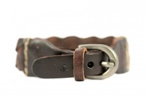 Bracelet en cuir tressé marron