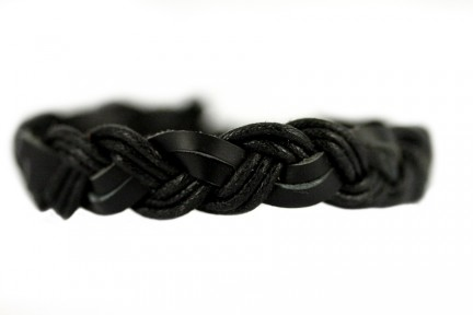 Bracelet en cuir tressé noir