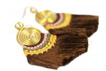 Boucles d'oreilles ethniques longues avec pompons
