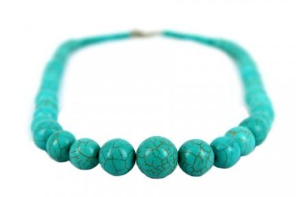 Collier en turquoise véritable et argent