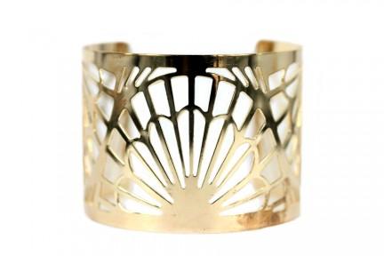 Bracelet manchette ajouré en acier