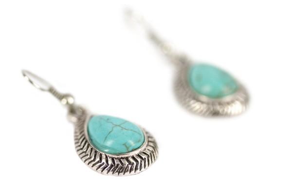 Boucles oreilles d'inde argent pierre turquoise