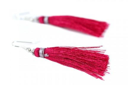 Boucles d'oreilles pompon rose