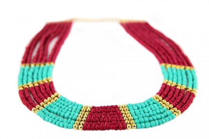 Collier indien turquoise mutltirangs