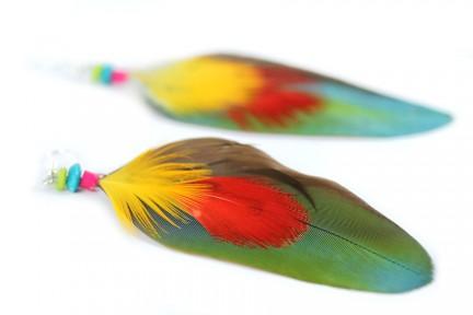 Boucles d'oreilles indiennes plumes d'Inde