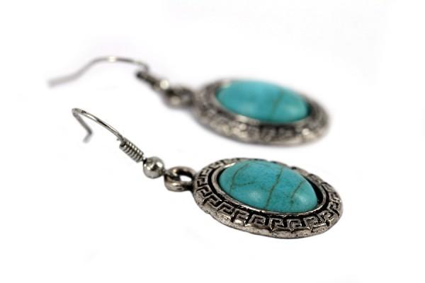 Boucles d'oreilles fantaisie pierre turquoise