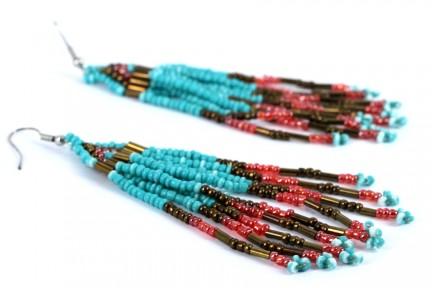 Boucles d'oreilles Sioux turquoise argent