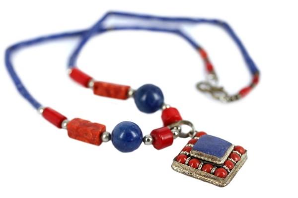 Collier lapis lazuli or