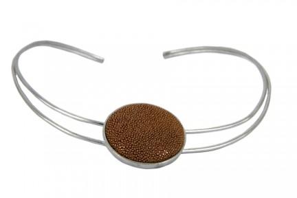 Collier rigide ouvert en aluminium effet acier