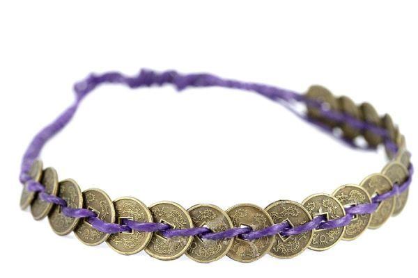 Bracelet pièce de monnaie bleu