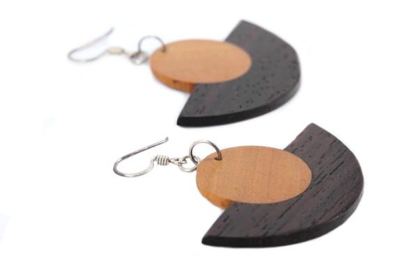 Achat boucles d'oreilles artisanales en bois rond