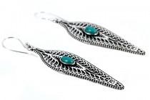 Boucles d'oreilles ethniques turquoise indiennes longues