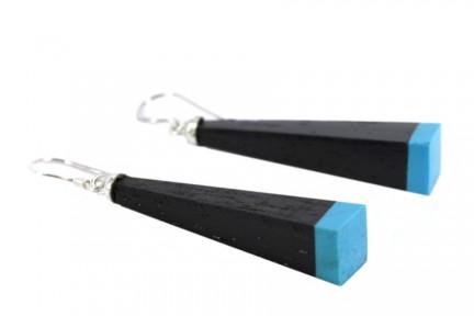 Boucles d'oreilles en bois noir pendantes