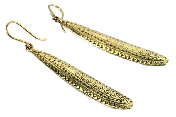 Boucles d'oreilles baguettes pendantes dorées or