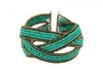 Bracelet manchette perles de rocailles tissées avec fermoir