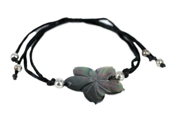 Bracelet cuir et perles de rocaille