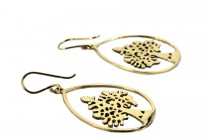 Boucles d'oreilles arbre de vie or dorées