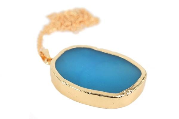 Collier or femme avec pendentif pierre bleu