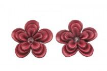Boucles d'oreilles rouges en cuir