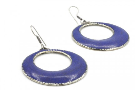 Boucles d'oreilles anneaux argent et lapis lazuli tribales