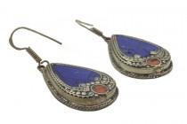 Boucles d'oreilles en lapis lazuli du Tibet, Népal et  Hmong