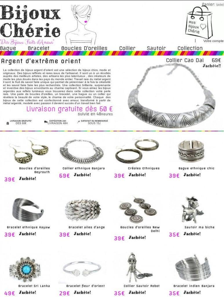 bijoux en argent fantaisie femme