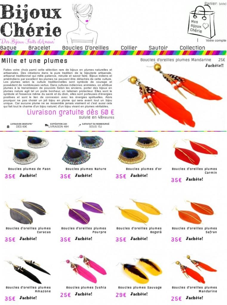bijoux en plumes artisanales naturelles