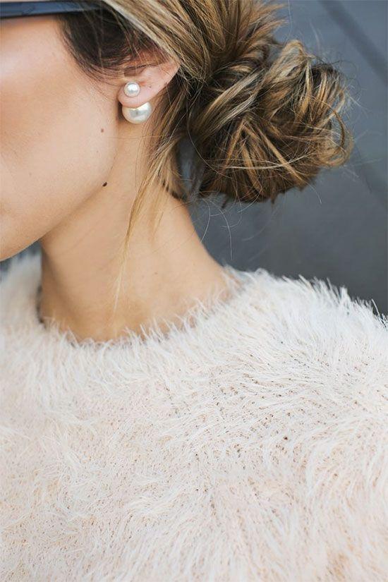 boucles oreilles avec un chignon