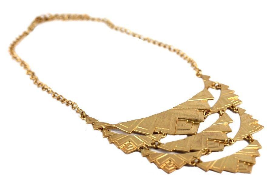 collier plastron femme dore argent